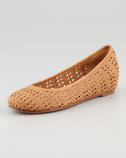 Eileen Fisher Sew Internal-Wedge Woven Ballerina Flat, Chestnut