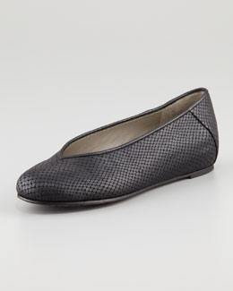 Eileen Fisher Patch 1 Snake-Embossed Ballerina Flat, Black