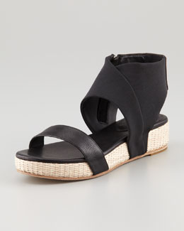Eileen Fisher Slot Stretch Ankle-Wrap Flatform Sandal