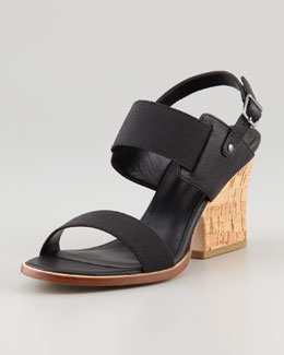 Eileen Fisher Plex Stretch Wedge Sandal, Black