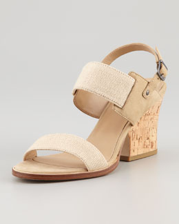 Eileen Fisher Plex Stretch Wedge Sandal, Linen
