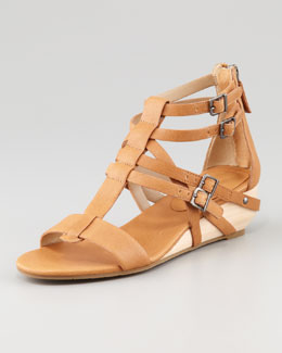 Eileen Fisher Echo Low-Wedge Gladiator Sandal, Chestnut