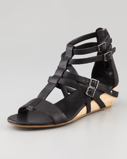 Eileen Fisher Echo Low-Wedge Gladiator Sandal, Black
