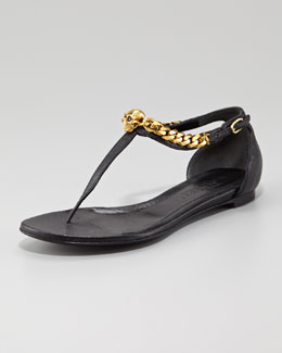 Alexander McQueen Skull-Chain Leather Thong Sandal, Black