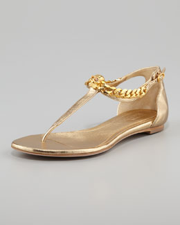 Alexander McQueen Skull-Chain Leather Thong Sandal, Gold