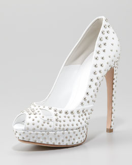 Alexander McQueen Studded Leather Pump, White