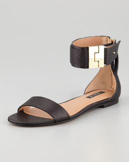Rachel Zoe Gladys Leather Flat Sandal, Black