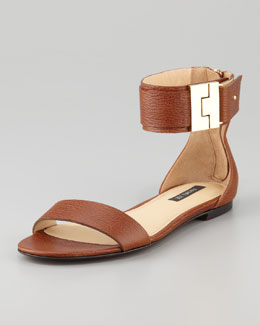 Rachel Zoe Gladys Leather Flat Sandal, Brown