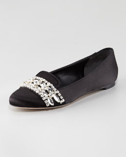 Alexander McQueen Jewel-Trimmed Satin Slipper