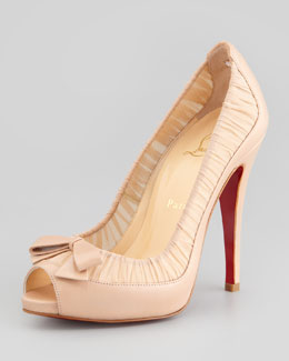 Christian Louboutin Angelique Chiffon & Leather Red Sole Pump, Nude
