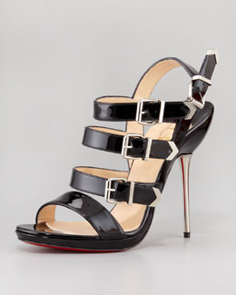 Christian Louboutin Funky Multi-Buckle Patent Red Sole Sandal