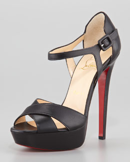 Christian Louboutin Sporting Buckle Ankle-Wrap Red Sole Sandal, Black