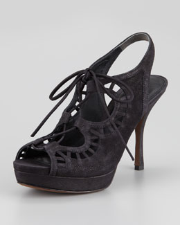 Vera Wang Lavender Quon Ghilly Lace-Up Suede Sandal, Black