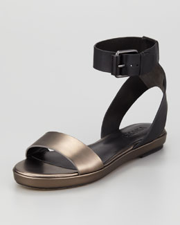 Vince Abbey Ankle-Strap Sandal, Black/Lead