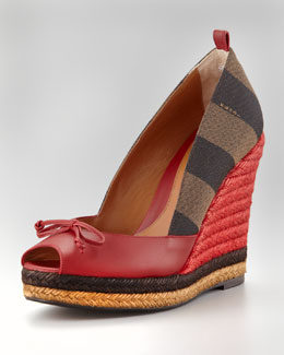 Fendi Pequin Stripe Espadrille Wedge, Red