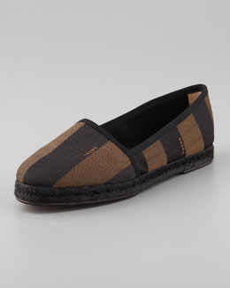 Fendi Pequin Striped Canvas Espadrille Flat, Black