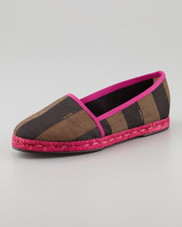 Fendi Pequin Striped Canvas Espadrille Flat, Pink