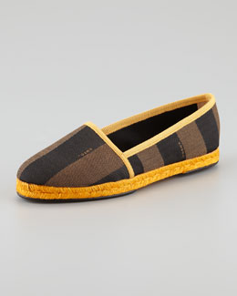 Fendi Pequin Striped Canvas Espadrille Flat, Yellow