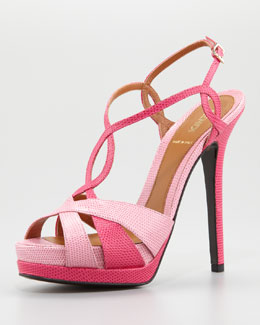 Fendi Twisted T-Strap Two-Tone Sandal, Pink