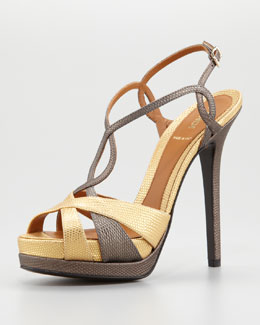Fendi Twisted T-Strap Two-Tone Sandal, Gold