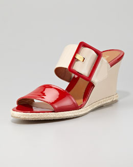 Fendi Colorblock Patent Demi Wedge Sandal, Red/Nude