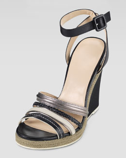 Cole Haan Nassau Braided Wedge Sandal, Black/Gunsmoke/Ivory