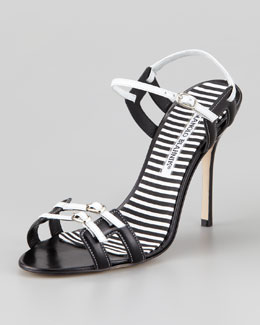 Manolo Blahnik Chapi Double-Buckle Sandal, Black/White