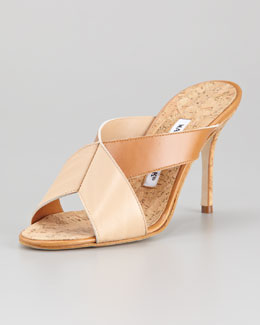 Manolo Blahnik Dalema Cork and Leather X-Cross High-Heel Slide
