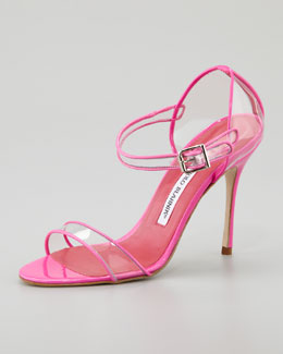 Manolo Blahnik Fersen See-Through Mary Jane Sandal, Pink