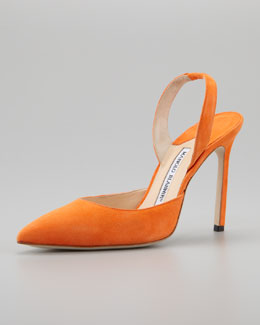 Manolo Blahnik Carolyne Suede High-Heel Halter, Orange