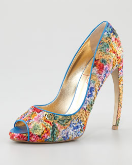 Walter Steiger Puckered Print Peep-Toe Pump