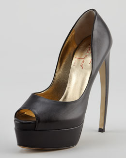Walter Steiger Bowed-Heel Leather Platform Pump, Black