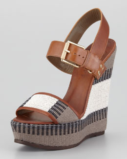 Belstaff Striped Canvas Wedge Sandal
