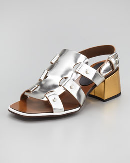 Marni Mid-Heel Mirrored Leather Sandal