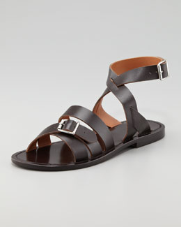 Marni Double-Buckle Flat Ankle-Wrap Sandal, Dark Brown