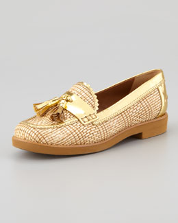 Tory Burch Careen Metallic-Raffia Runway Tassel Loafer