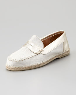 Jacques Levine Espadrille Penny Loafer, White/Gold