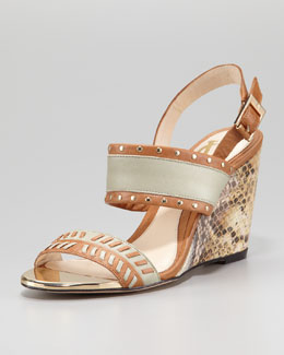 VC Signature Imperia Snake-Print Wedge Sandal, Brown Sugar/Slate
