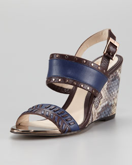 VC Signature Imperia Snake-Print Wedge Sandal, Espresso/Twilight
