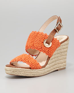 VC Signature Milo Crochet Slingback Espadrille Wedge Sandal, Orange