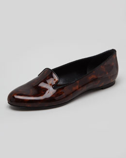 Alexander McQueen Tortoise Patent Leather Smoking Slipper