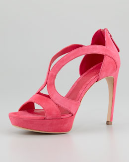 Alexander McQueen Low-Heel Double-Arched Suede Sandal, Pop Pink