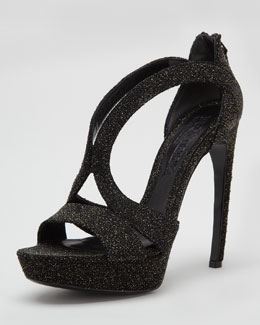Alexander McQueen High-Heel Double-Arched Crystallized Sandal, Black