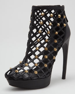Alexander McQueen Studded Leather Cage Bootie, Black