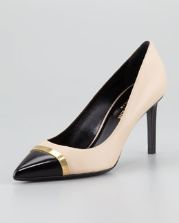 Saint Laurent Paris Cap-Toe Pump, Beige/Black