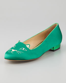 Charlotte Olympia Kitty Satin Flat Slipper, Green