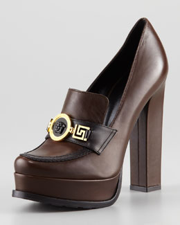 Versace Loafer Pump, Brown/Black