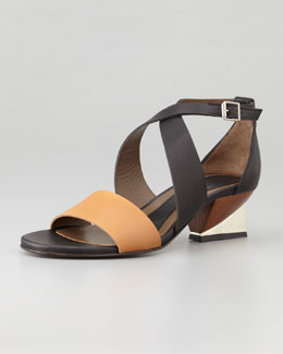 Marni Metal-Heeled Leather Sandal