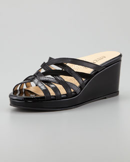 Anyi Lu Isis Crisscross Low Wedge Slide Sandal, Black