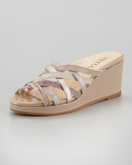 Anyi Lu Isis Crisscross Low-Wedge Slide